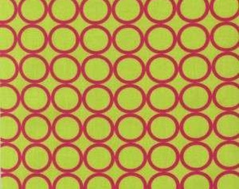 Pink Circles on Lime Green Cotton Woven Fabric by Robert Kaufman by the yard