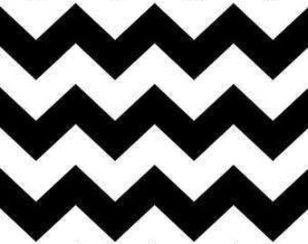 Black and White Chevrons on Cotton Woven Fabric by the yard