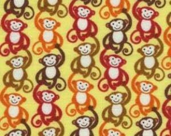 Monkeys on Gold Cotton Woven Fabric by Timeless Treasures by the yard