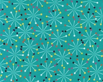 Love To Sew Pins on Teal Cotton Woven Fabric by Michael Miller by the yard