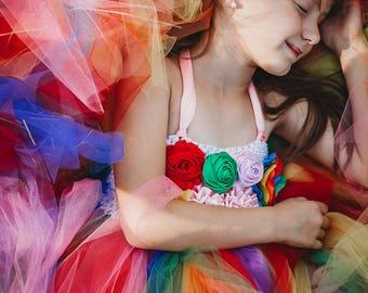 Rainbow Dream- Rainbow flower girl tutu dress perfect for Rainbow Colorful themed Weddings