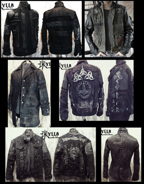 409339406a2 Kylla Custom Leather and Denim Distressed Jacket MADE TO