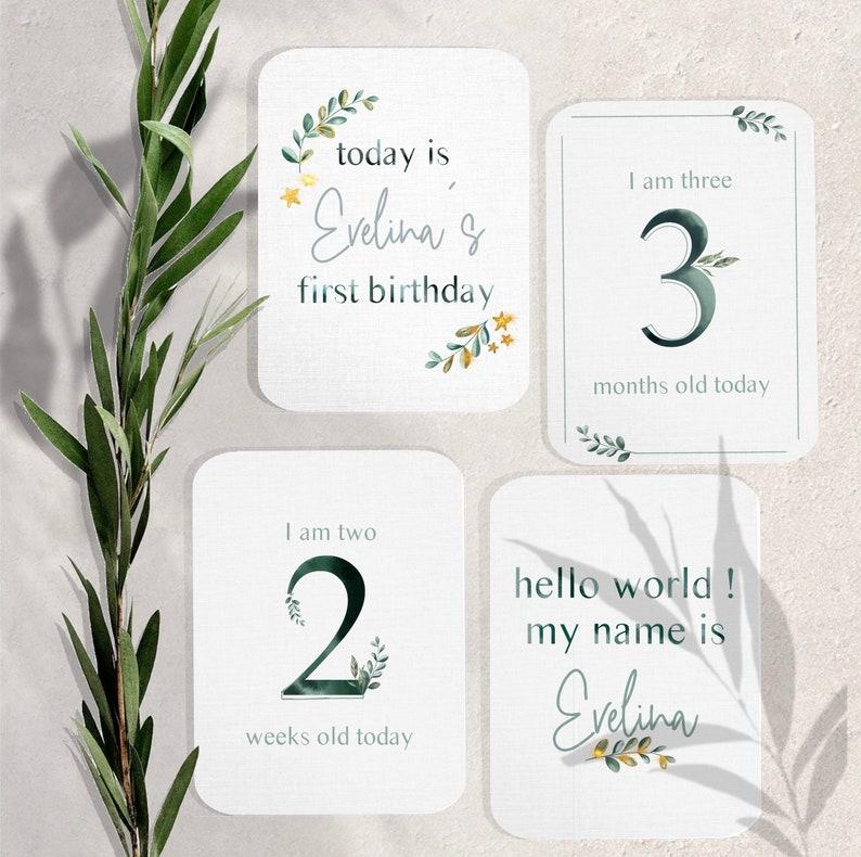 gift for new mother 26 illustrated green foliage first year milestone photo cards personalised botanical eucalyptus leaves unisex boho
