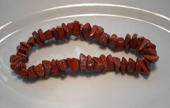 Red Jasper Gemstone Chip Tumblechip Stretchy Elasticated Bracelet Jewellery