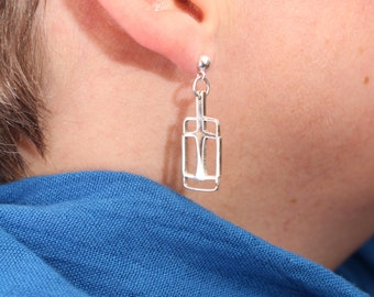 Bike Pedal Earrings, Sterling Silver, by Uehara Designs