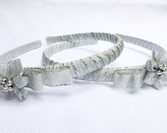Hairband, Silver Bow Headband for Little Girls