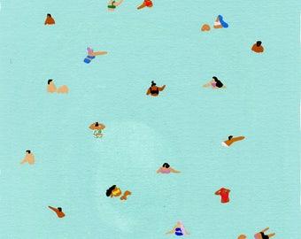 """Art print of original painting """" Green """" by Helo Birdie - swimming - swim - people - whimsical art - summer - water - pastel - green -"""