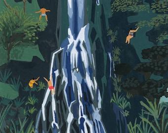 "Art print of original painting "" Waterfall Stop"" by Helo Birdie - New Zealand - nature - waterfall - green - blue - travel - wanderlust -"