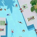Crisp cut swim - Art print of original painting by Helo Birdie - swimming - pool - tropical - water - grey - green - summer -