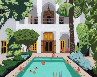 """Art print of original painting """"Marrakech Riad"""" by Helo Birdie - morocco swimming pool - moroccan wall decor - travel - architecture poster"""