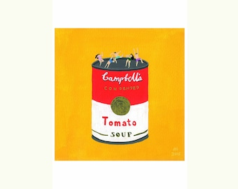 """Art print of original painting """" Roof top party """" by Helo Birdie - pop art - tomato soup - party - friends - vegan - yellow - colorful -"""
