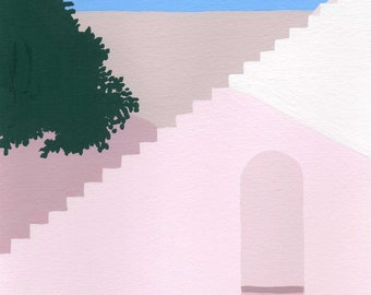 """Art print of original painting """"Greece Bliss"""" by Helo Birdie - swimming - travel - architecture - summer - water - pink - pastel - swim -"""