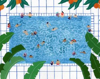 """Art print of original watercolor painting """"Oranjepool"""" by Helo Birdie - whimsical - swimming pool - oranges - travel - tropical - summer -"""