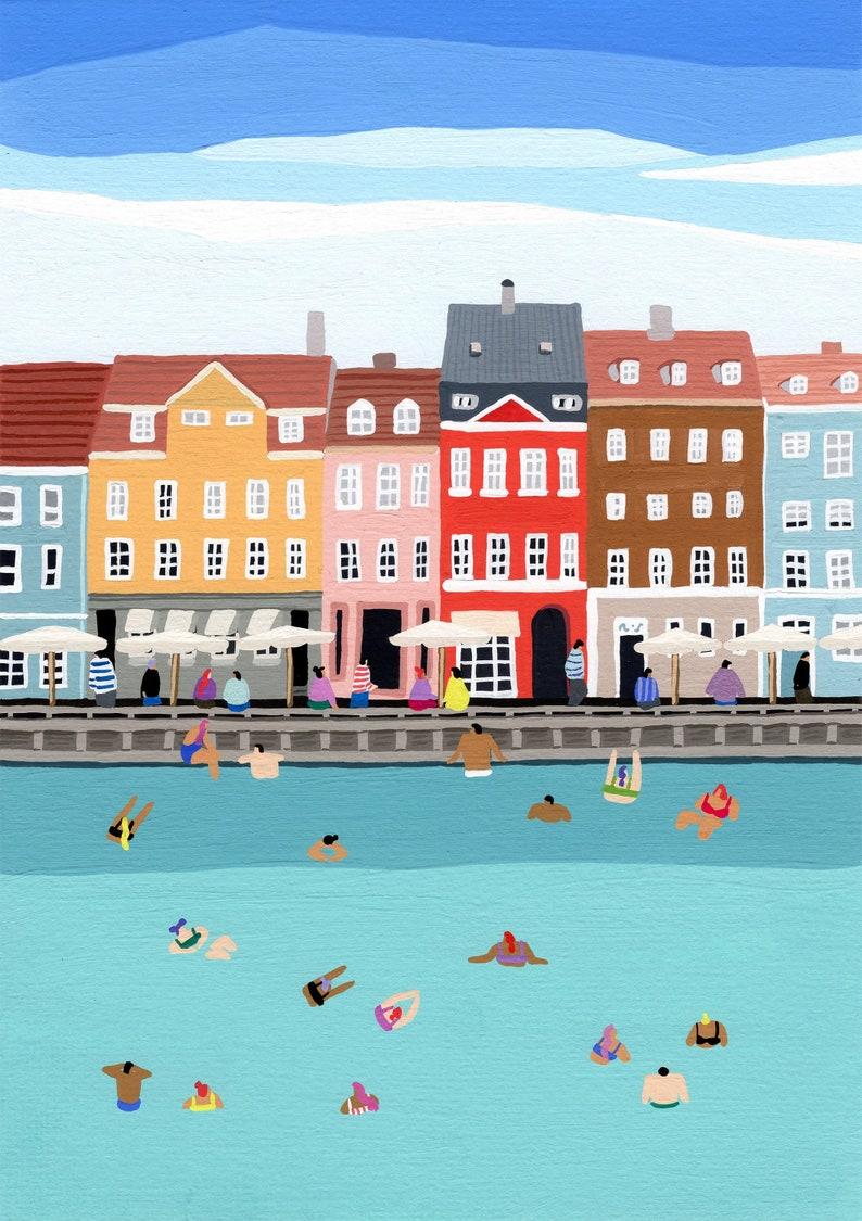 Art print of original painting Waterfront image 0