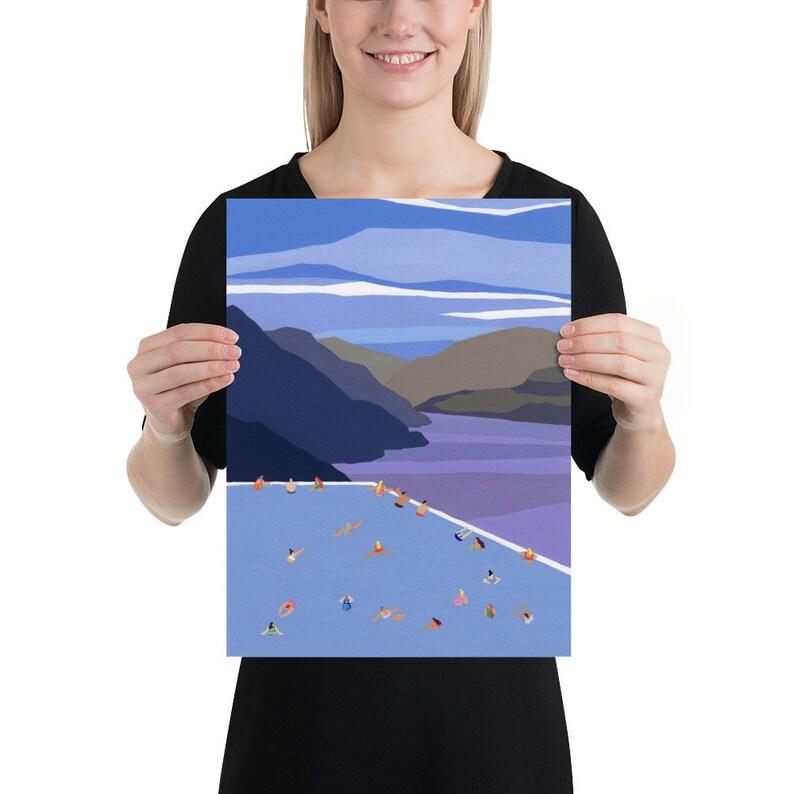 Art print of original Gouache painting Swiss swim