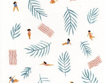 "Art print original painting "" Stripes"" by Helo Birdie - whimsical art - swimwear - summer - leaves - palms - tropical - girls -"
