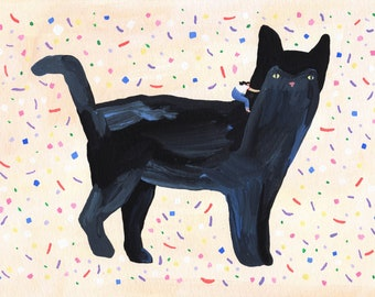 """Original painting """"Kitty"""" by Helo Birdie - Cat - confetti - color - colorful - artwork - illustration - animal - cats - cute - whimsical -"""
