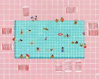 """Art print of original painting """"Pink Tiles"""" by Helo Birdie - swimming - pool - pink - turquoise - stripes - summer - water - swim - people -"""