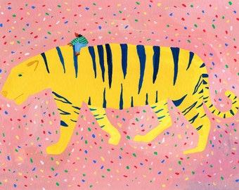 "Original painting ""Regal Ride"" by Helo Birdie - Tiger - pink - confetti - color - colorful - artwork - illustration - animal -"