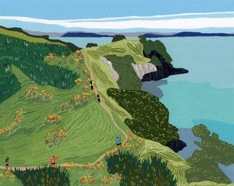 "Art print of original gouache painting ""Waiheke Coastal trail"" by Helo Birdie - waiheke island - new zealand beach - nz art - coastal decor"