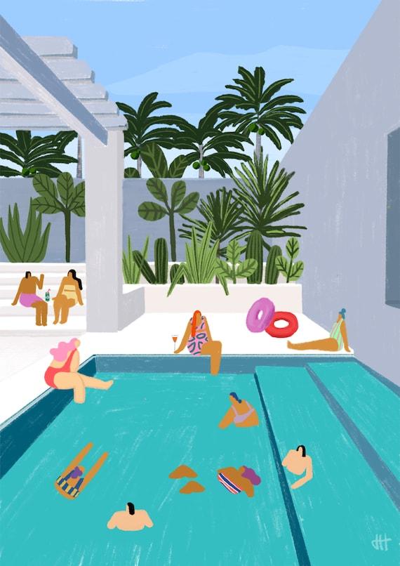 Art print of 'Oasis pool' - swimming pool - santorini - Greece - holiday -  travel - swimwear - summer - pool party -