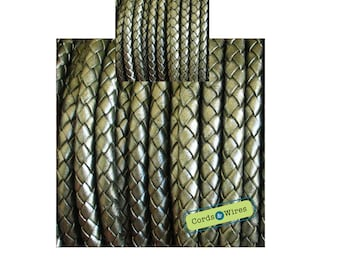 DB06127 - 0.40 meter x 6.00mm Green-grey, Round Braided Leather Cord