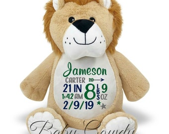 229580dfc2d0 Personalized Stuffed Animal, Personalized Lion, Embroidered Stuffed Animal,  Birth Announcement, Custom Lion Keepsake, New Baby Gift