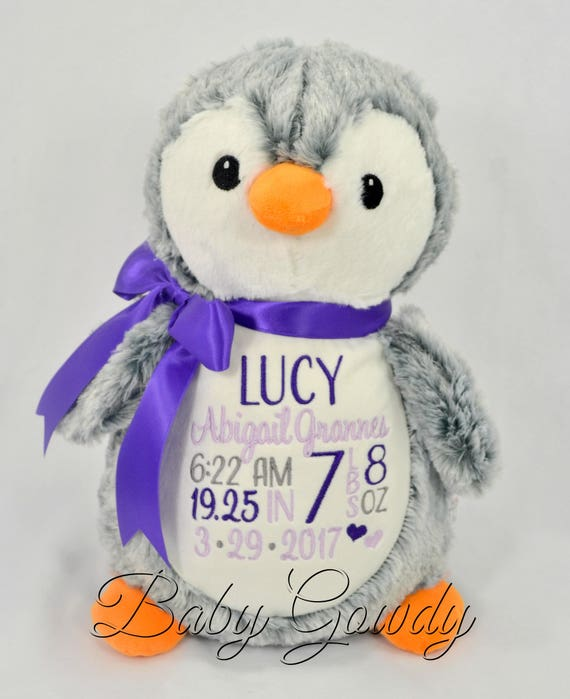 Personalized Stuffed Animal Personalized Penguin Birth Stat Etsy