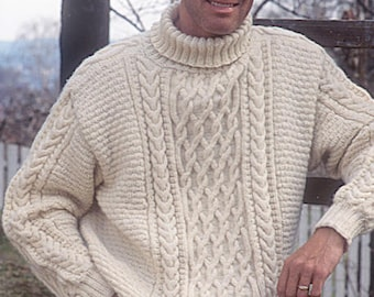 ab4defb504b4f0 Hand knitted unisex jumper sweater aran style cable for men or women -  ladies cable knit jumper - men s Aran sweater - knit jumper
