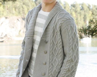 ac27cf105eea12 Hand knitted mens collared jacket cardigan in aran style with cables and shawl  collar - mens knitted clothes - mens clothing - made to order