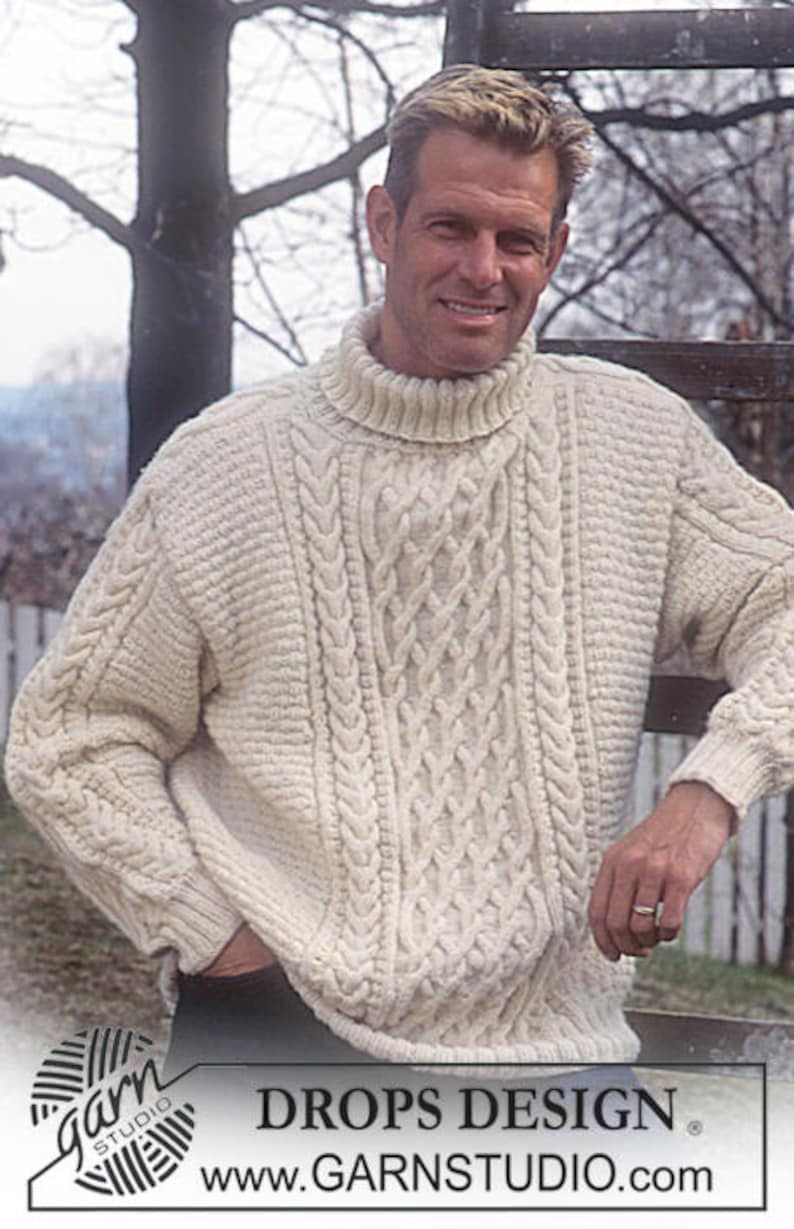 489cfc06b Hand knitted unisex jumper sweater aran style cable for men or