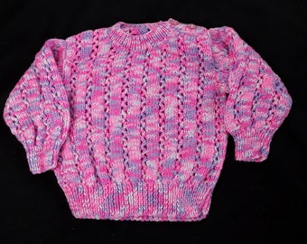 Hand knitted baby girls jumper 6 - 12 months pinks and purples - baby sweater - girls sweater - baby clothes -baby knits - girls clothing