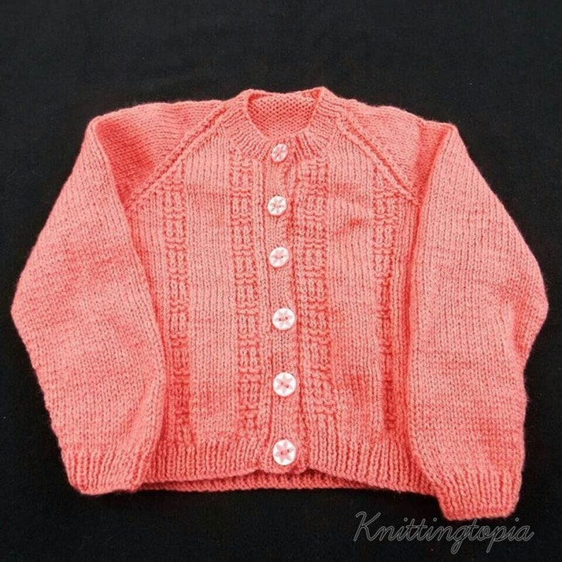 057a92b06 Hand knitted baby cardigan in deep pink 1 2 years girls