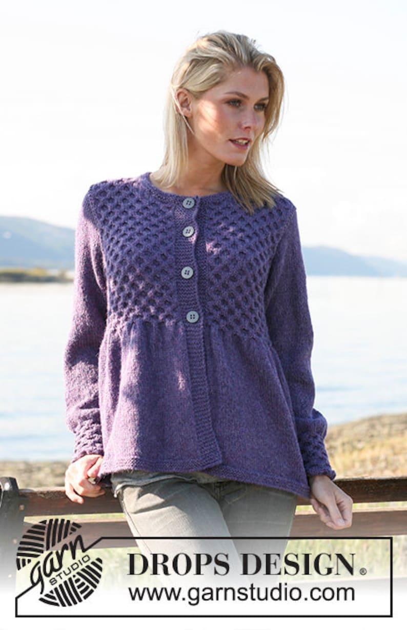 e4930e42 Hand knitted ladies cardigan with honeycomb pattern - alpaca S - XXXL -  made to order - womens clothing - ladies knitwear