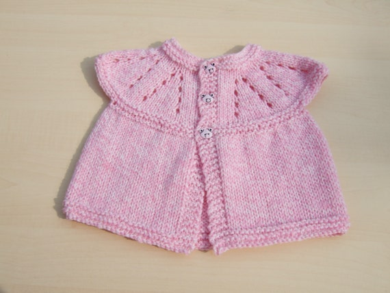 17f186d1c3a7 Baby sleeveless cardigan hand knitted in pink and cream mix