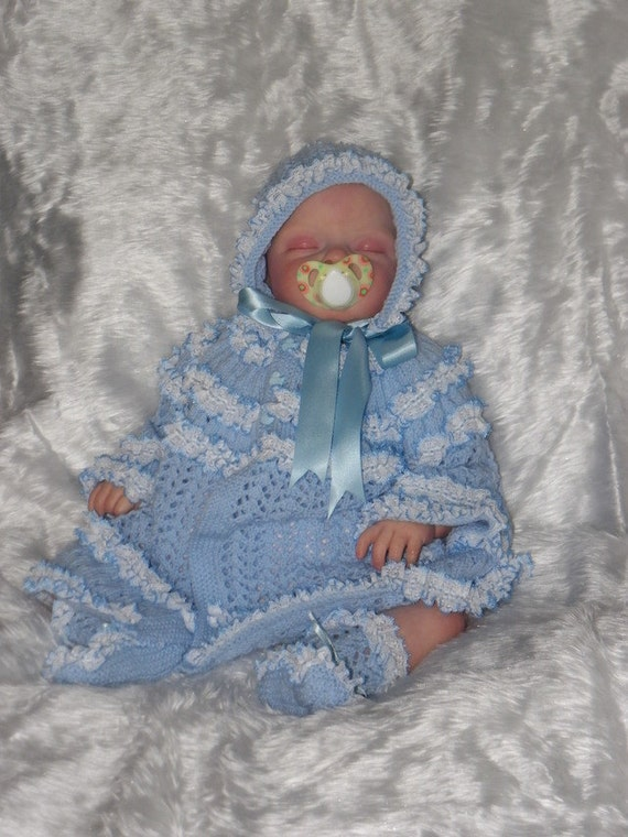 Hand Knitted Baby boys cardigan /& Hat New Blue 0-3 months 16inch