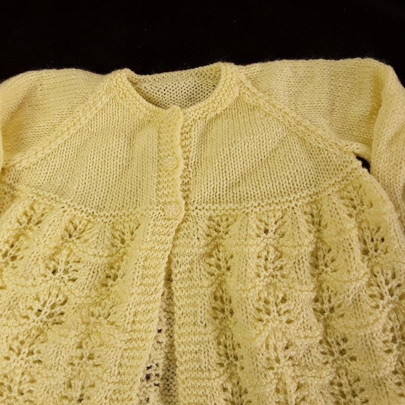 Hand knitted baby cardigan bonnet booties and mittens set 6-12 months knitted baby clothes matinee set in lemon