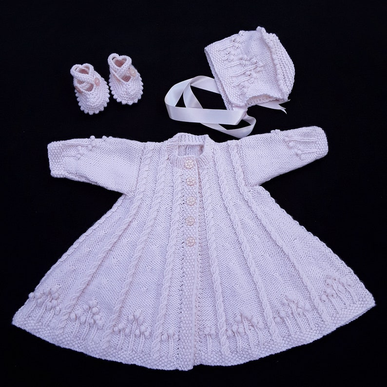 Hand knitted baby cardigan bonnet and booties 0  6 months image 0