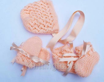 Hand knitted baby bonnet booties and mittens set 0 - 12 months peach - knitted baby clothes - baby girl clothing