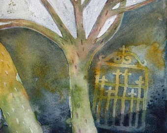 Gate no. 2 - winter tree forest - night scene - otherworld gateway - original watercolor painting - surreal fantasy fairy tale art - dream