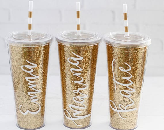 gold glitter tumblers // striped straw // personalized bridesmaid gifts // bachelorette party favors // bridesmaid tumblers // girls weekend