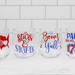 Fourth of July sale acrylic wine glasses independence day memorial day July 4th Party Decor USA Patriotic Gift Funny Wine Glass 4th of July