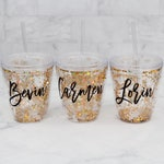 Glitter Tumbler Cups with Straw // Confetti tumblers // Girls Weekend Gifts