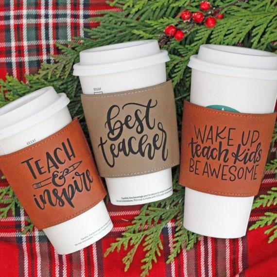 Coffee Sleeve for teachers  // Gift for Teachers // Teacher gift // Vegan Leather Coffee Sleeve // Personalized Coffee Sleeve
