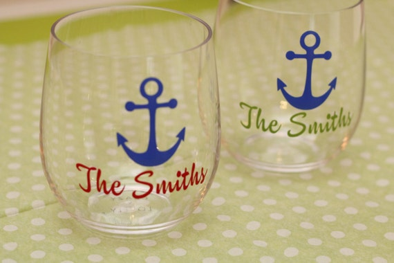 Personalized wine glasses  // boat wine glasses // acrylic stemless wine glass // custom plastic wine glass