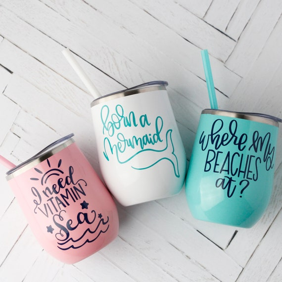 Beach Wine Tumblers // Personalized Stainless Wine Tumbler //  girls weekend ideas // wine tumbler with straw