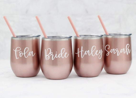 Rose Gold wine tumbler // stainless wine tumbler //  girls weekend ideas // wine tumblers with straw