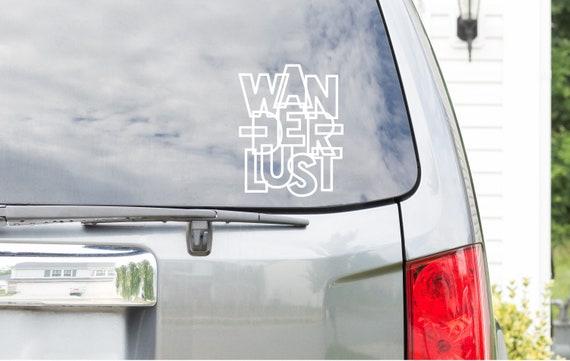 Wanderlust Car Decal  // Car Stickers for world traveler // Car Window Decal