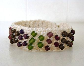 """Crochet Beaded Bracelet Made For 7"""" Wrist"""