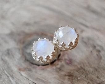rainbow moonstones stud earrings /// 6mm rose cut moonstones set in filigrane sterling silver /// june birthstone • READY TO SHIP